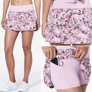 Lululemon Pace Rival Skirt Skort Pink Floral Print
